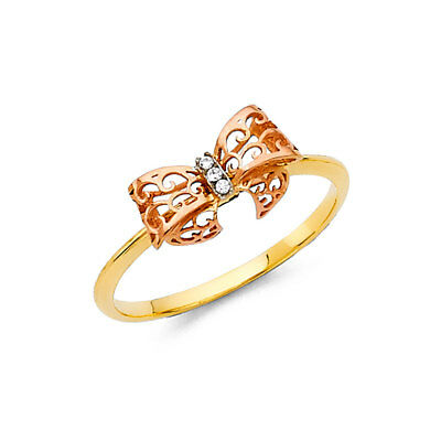 Women 14k Yellow Rose Gold CZ Bow Tie Fashion Fancy Promise Ring Band