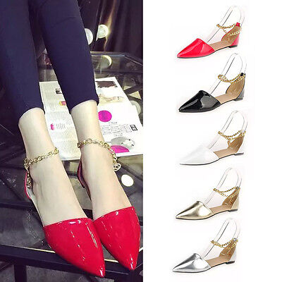 Fashion Women Pointy Toe Shoes Faux Leather Candy Color Casual Flat Shoes Hot