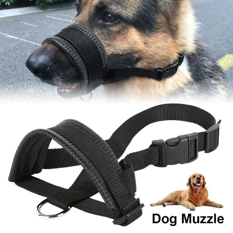 Adjustable Pet Large Dog Muzzle Mask Soft Nylon Cage No Bark