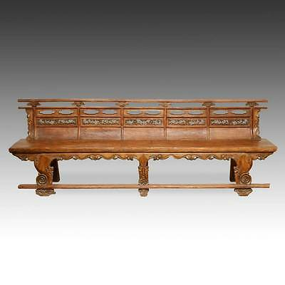 RARE ANTIQUE BUDDHIST TEMPLE BENCH ELM WOOD CHINESE QING FURNITURE 19TH C.