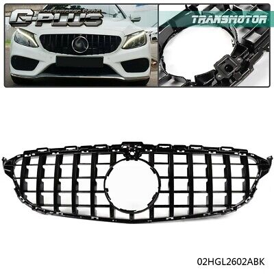 For Mercedes Benz W205 C Class 2015-2018 W/ Camera Hole Black GT-R Grill Grille