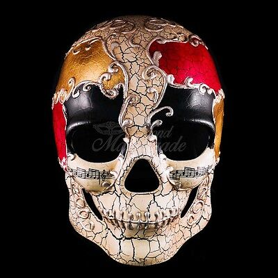 Dia de los Muertos - Skull Venetian Day of the Dead Masquerade Mask - Red & Gold ()