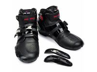 Motorcycle Sport Boot Short Black Leather Ankle Boots Waterproof brand new size 9