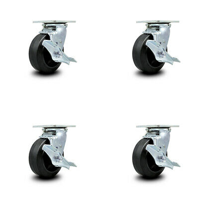 Rubber On Cast Iron Swvl Caster Set 4 W5 Wheel- 4 Swvl Wside Lock Brk Bsl