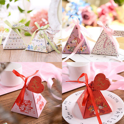 Triangle Pyramid Candy Tea Boxes Ribbon Gift Box Wedding Party Favour Bags (Triangle Gift)