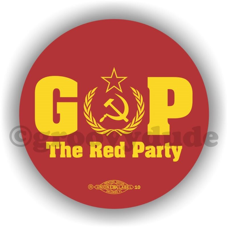 "GOP The Red Party Russian Anti President Donald Trump 2-1/4"" Pin Pinback Button"