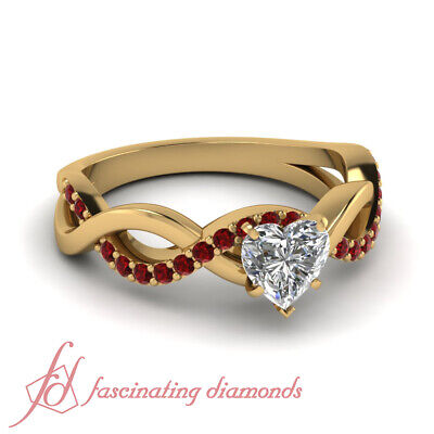 1 Ct Heart Shape GIA Certified Diamond And Ruby Anniversary Rings In Yellow Gold