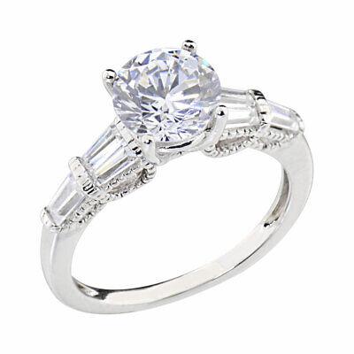 Women's Engagement Wedding Ring Round Cubic Zirconia 14k White Gold -