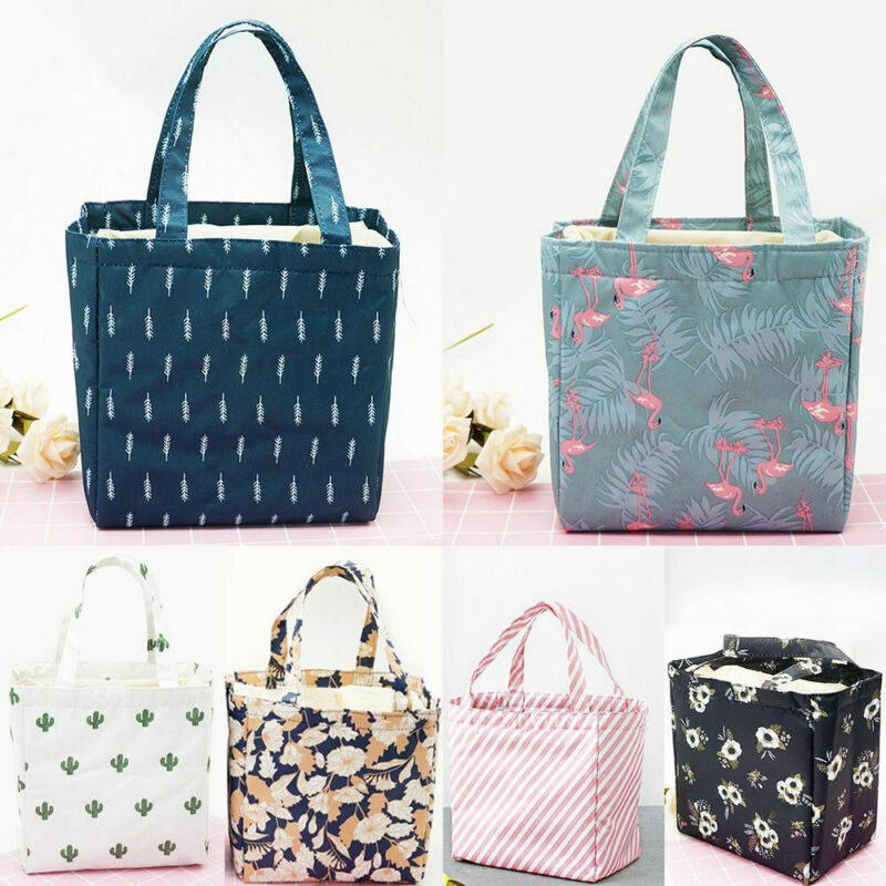Insulated Lunch Bag For Women Kids Floral Print Travel Picni