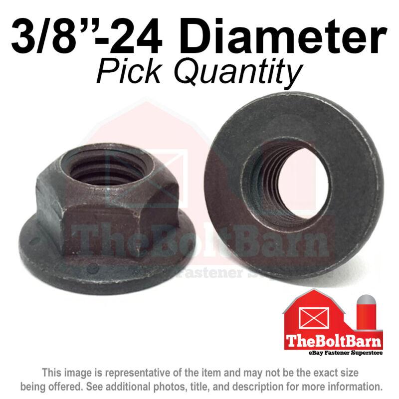 "3/8""-24 Grade 8 (G) Hex Flange Top Lock Nuts FINE Phos & Oil (Pick Quantity)"