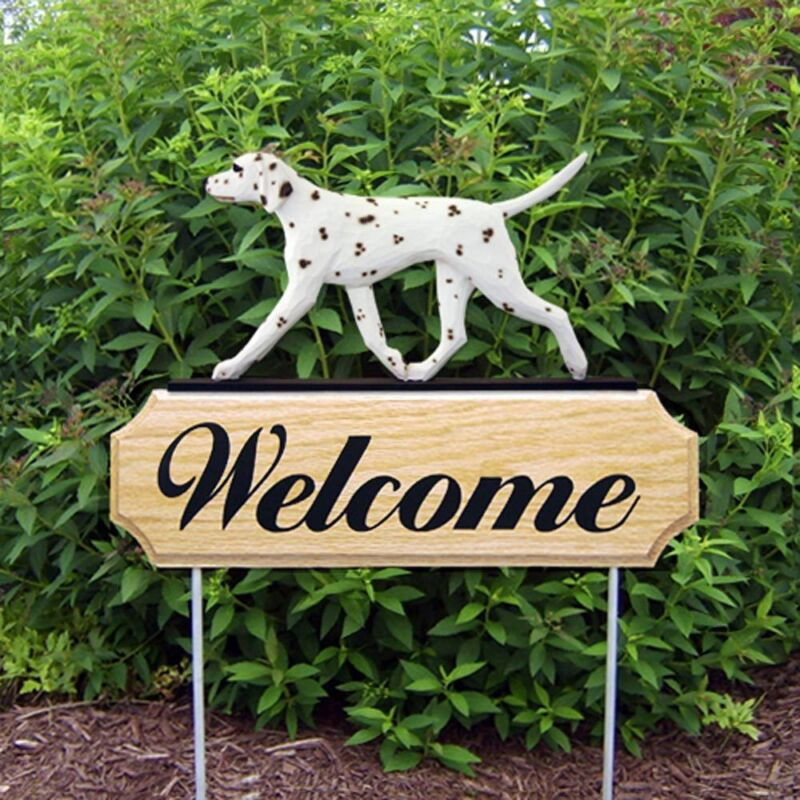 Dalmatian Wood Welcome Outdoor Sign Liver