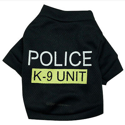 Pet Dog Cat Black Police T-Shirt Clothes Summer Vest Coat Puppy Costumes - Police Dog Outfit