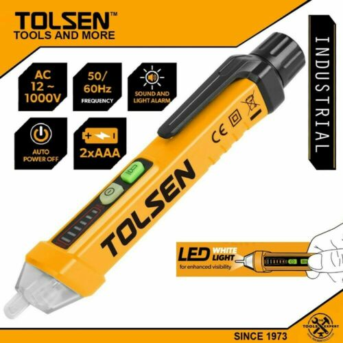 TOLSEN NON-CONTACT VOLTAGE DETECTOR WIRE TESTER PEN AC 12-1000V 115V 220V LED