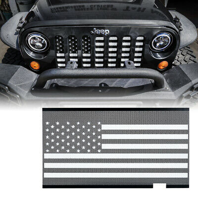Flag Grille - Xprite Mesh Grille Insert with Black & White Flag For JK 2007-2018 Jeep Wrangler