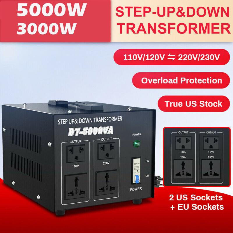 5000W Voltage Converter Transformer Heavy Duty 110/220V-220/110V Step Up/Down
