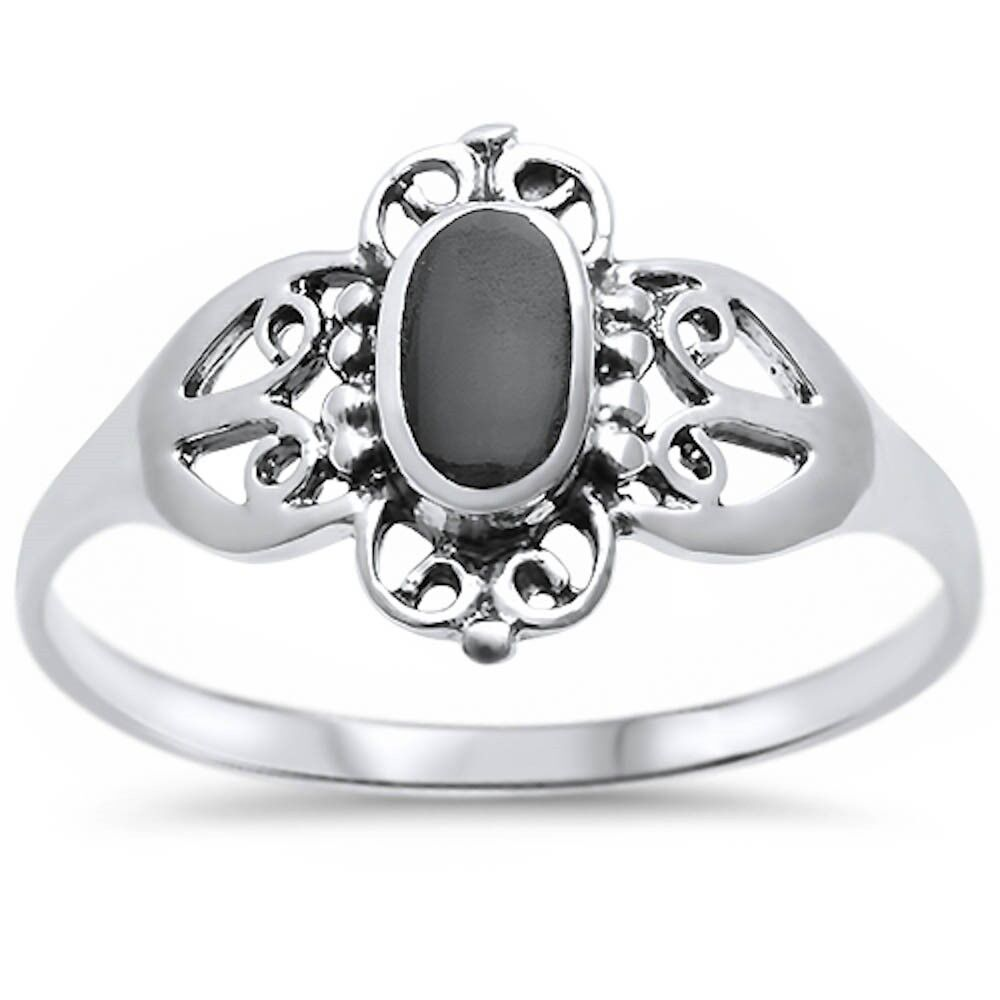 9749ae8655ab5 Details about New Fashion Black Onyx Design .925 Sterling Silver Ring Sizes  5-10