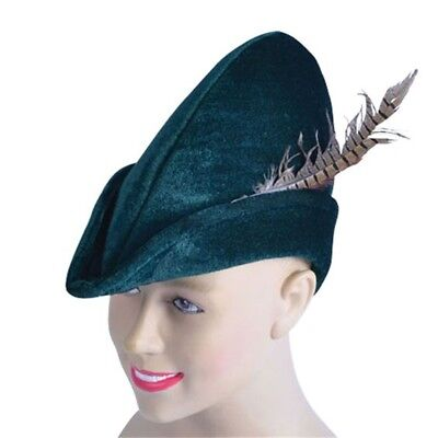 Green Soft Felt Robin Hood Hat - Fancy Dress Accessory Medieval Adult - Felt Robin Hood