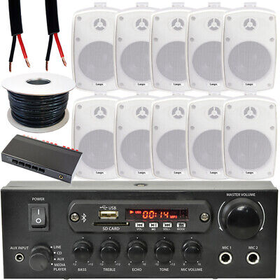 Exterior Altavoz Bluetooth Kit -10x 60W Blanco – Estéreo Amperio – 5...