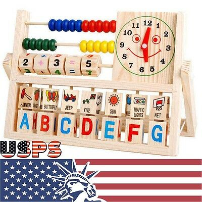 Children Baby Kids Learning Developmental Versatile Flap Abacus Wooden Toys US