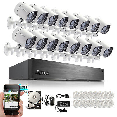 Funlux® 16CH Channel sPoE NVR 720P HD IP Security Surveillance Camera System 2TB