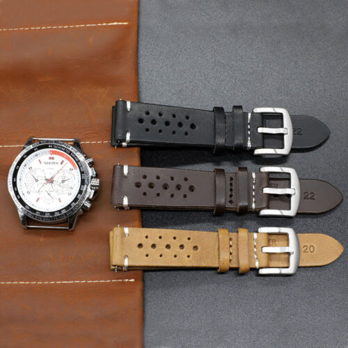 Genuine Leather Vintage   Watch Strap Wristwatch Band 18/20/22/24 Mm Made In Usa
