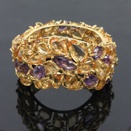 Vintage 210.0ct Citrine & Amethyst 18k Yellow Gold Hand Made Wide Bangle