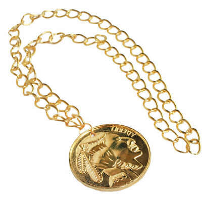 GOLDEN MEDALLION RAPPER NECKLACE 70'S DISCO FANCY DRESS COSTUME ACCESSORY