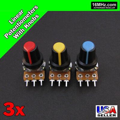3x 10k Ohm Linear Taper Rotary Potentiometers B10k Pot With Black Knobs 3pcs U16