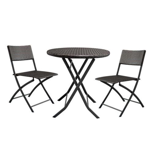 Garden Furniture - 3pc Patio Bistro Furniture Set Outdoor Garden Wicker Table Chair Brown Gradient