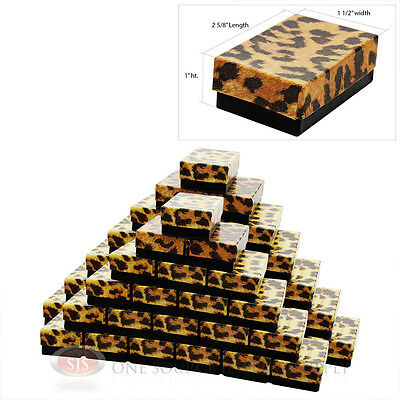 50 Leopard Print Cotton Filled Jewelry Gift Boxes 2 58 X 1 12 Charm Ring Box