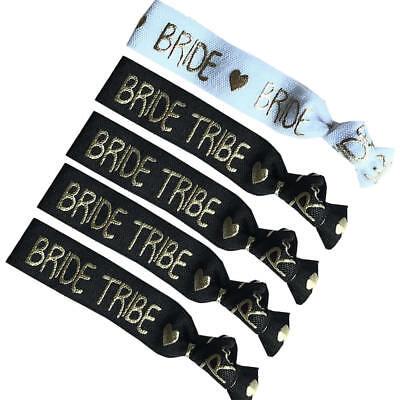 Black White Bride Tribe Elastic Wristband Hair Ties Bachelorette Hen Party - Black Bachelorette Party