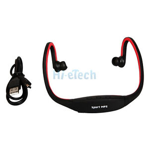 Sport MP3 Player Wireless Handsfree Headset with TF card Slot 2GB 4GB 8GB Red