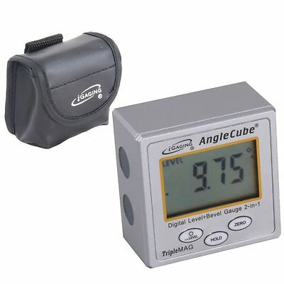Igaging Angle Cube Digital Magnetic Protractor Gauge Level Table Saw Wcase