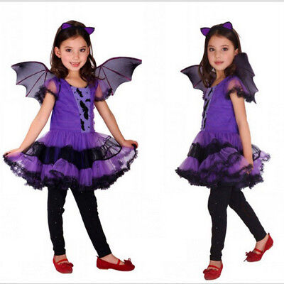 Fun Halloween Costumes For Teenage Girls (Halloween Bats role-play Costumes Cosplay Children Dress for Girl Up)