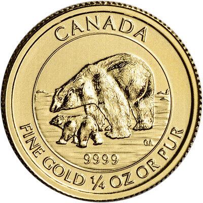 2015 Canada Gold Polar Bear and Cub $10 - 1/4 oz - .9999 Fine - BU