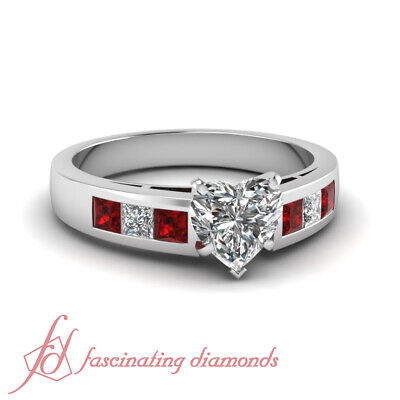 Channel Set Engagement Ring 1.20 Ct Heart Shaped Diamond & Princess Red Ruby GIA