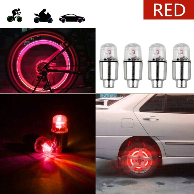 4 X Red LED Car For SUV Wheel Tyre  Air Valve Stem Caps Decoration Light Lamp