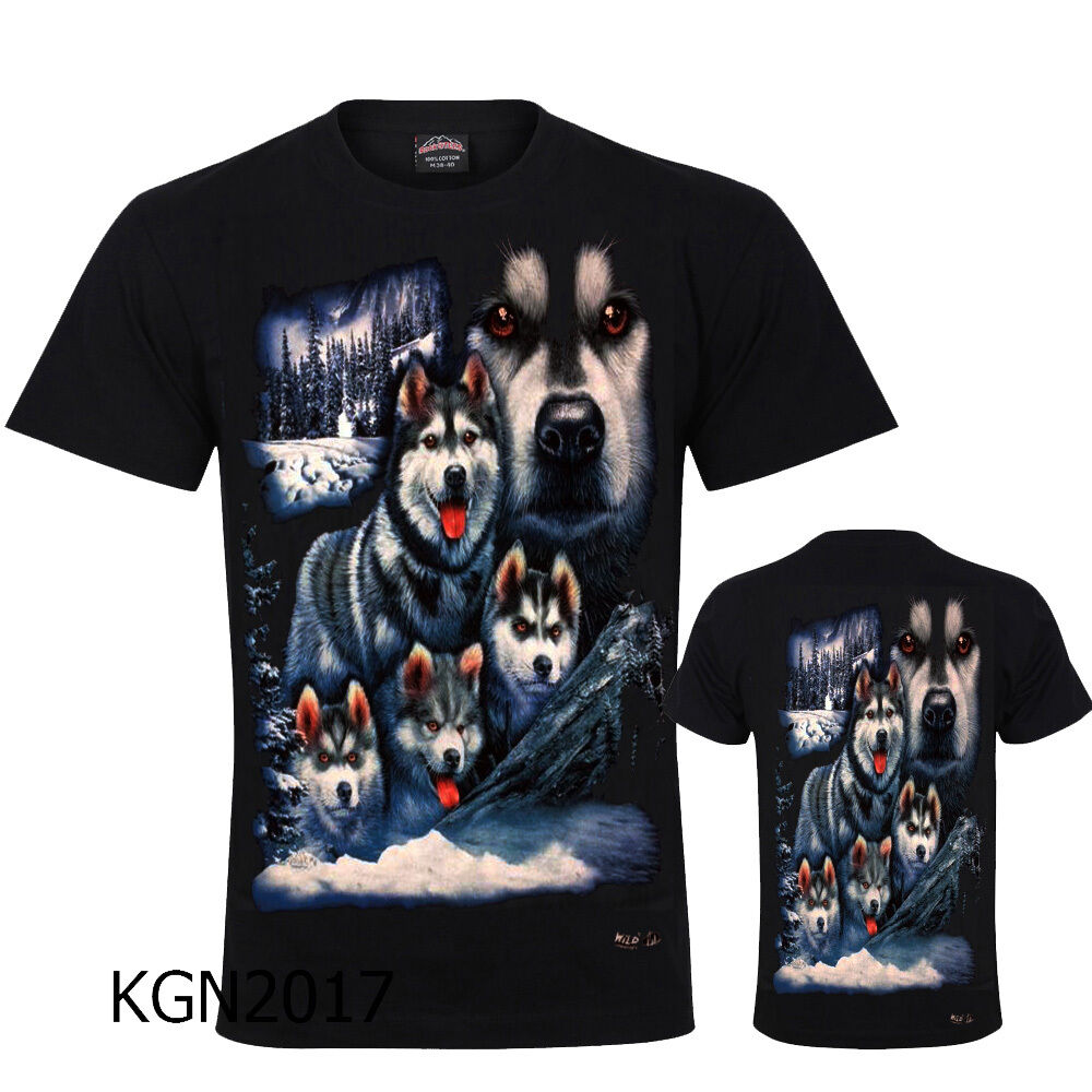 Shirt Front /& Back Print M 3XL New Husky Dog Puppy Puppies Dogs Cute T