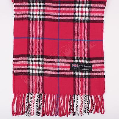 Hot Pink Plaid Design - Women 100% CASHMERE Scarf Hot Pink tartan Plaid Design Soft MADE IN SCOTLAND