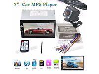 "2Din 7"" Car MP5 Player Aux Input FM Stereo Radio Bluetooth + HD Rear view camera"