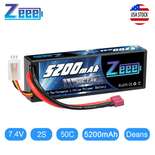 Zeee 50C 2S 5200mAh 7.4V Lipo Battery Hardcase Deans Plug for RC Car Truck Buggy