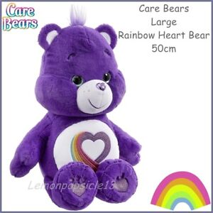 Care Bear Rainbow Heart Bear Large Purple Plush Teddy Bear Toy Care Bears NEW