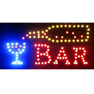 Animated Motion LED Restaurant Cafe Club Bar Sign + On/Off Switch Open Light