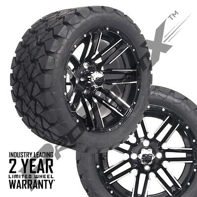"Set of 4-14"" Sledge Mach/Black Wheels 22"" Overkill A.T. Tires Lifted Golf Carts"
