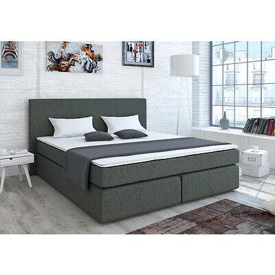 Designer Boxspringbett Bett Doppelbett Ehebett Hotelbett Stoff Grau 180x200 cm