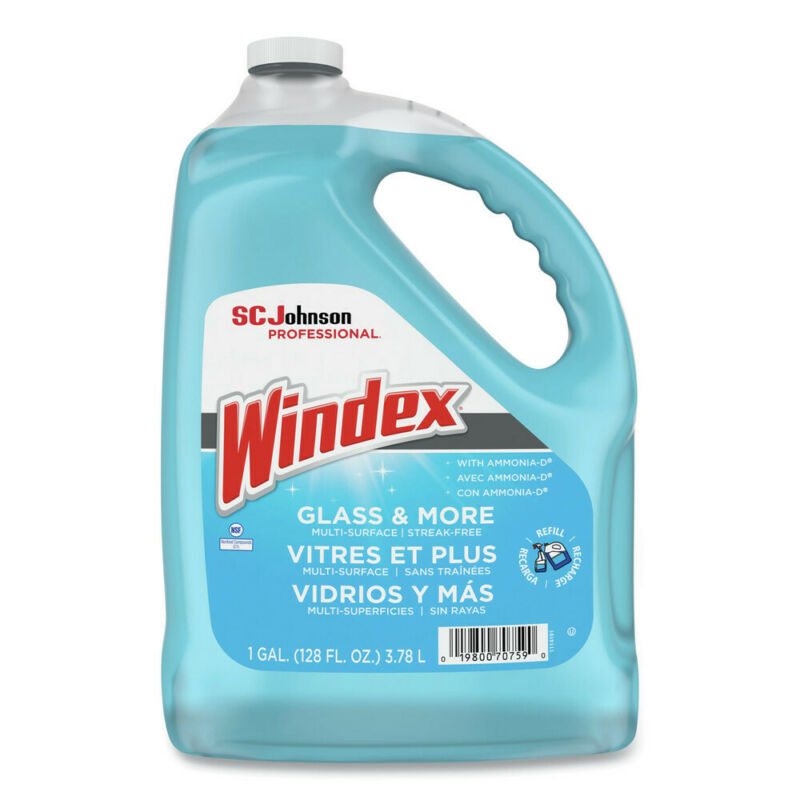 Windex 696503 4-Pc/CT Ammonia-D 1 gal Bottle Glass Cleaner New