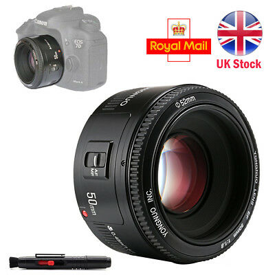 Yongnuo YN 50MM Fixed Lens AF / MF F/1.8 Prime for Canon DSLR EOS EF Camera UK