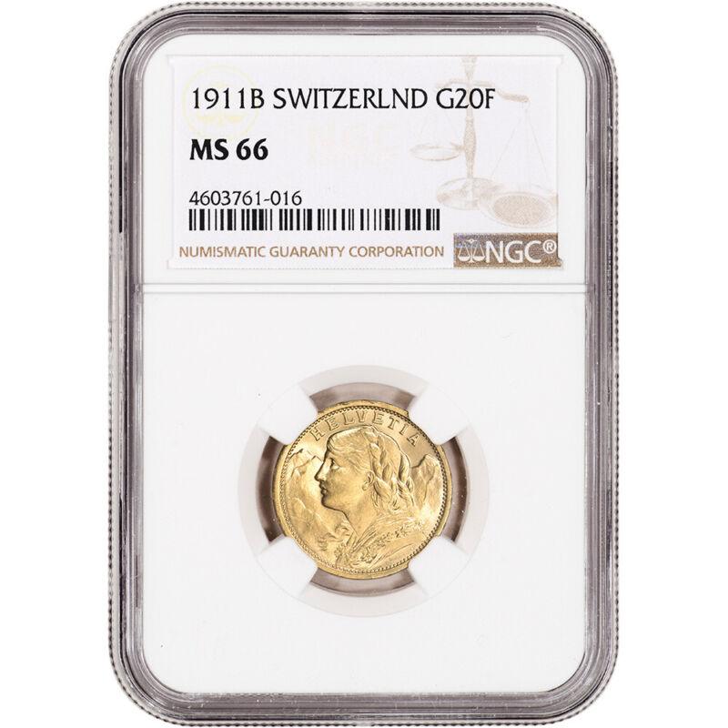 1911 B Switzerland Gold 20 Francs - NGC MS66