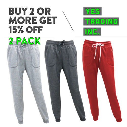 2 Pack Womens Casual Sweatpants Slim-fit Joggers Fleece Yoga House Pants Gym
