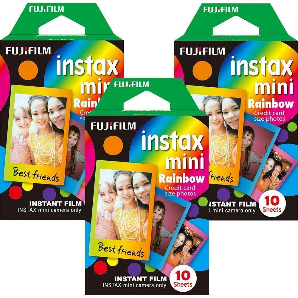 Fujifilm Instax Mini Instant Rainbow Film, 10 Sheets, 3 Valu